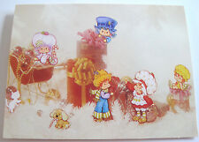 Unused Vtg Christmas Card Strawberry Shortcake and Friends w Presents & Sleigh