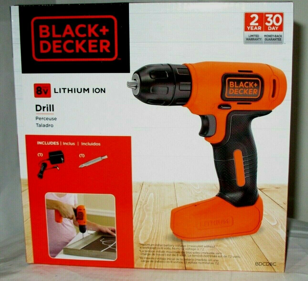 New BLACK & DECKER 8v Max Volt Cordless Lithium Ion 3/8 Drill & Charger (NEW).