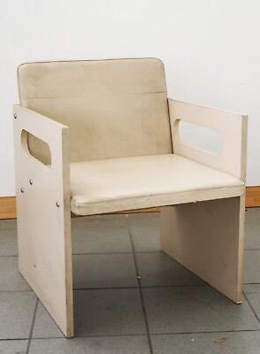 Sedia vintage design anni 70 80 in legno e pelle minibal for Sedia design anni 70