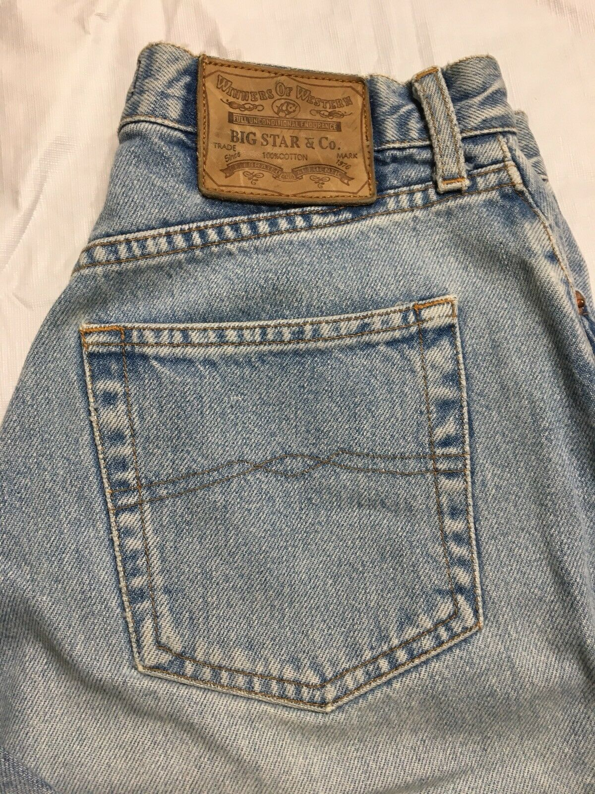 Vtg Big Star Frisco Jeans Size 27 x 29 Light Wash Button Fly Tapered Leg