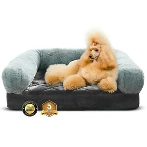 Luxe-Pets-Orthopedic-Pet-Bed-Memory-Foam-Luxurious-Velvet-Faux-Fur-XL-Grey