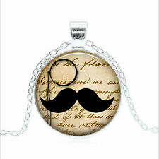 Mustache & Monocle pendant Cabochon Glass Silver Necklace Men's Jewelry