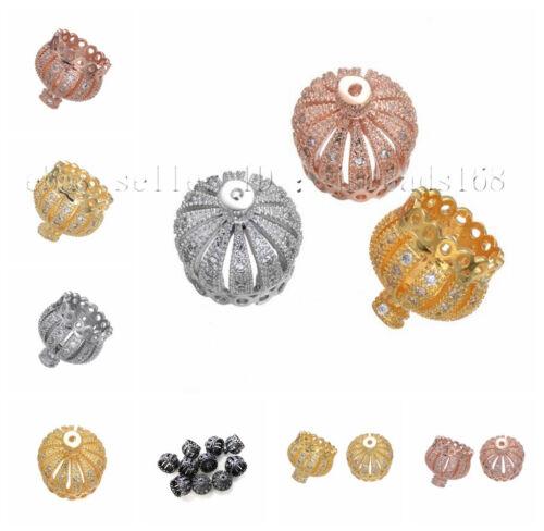 Clair Zircone Cubique Micro Pave exquis Couronne Bracelet Connector Charm Beads