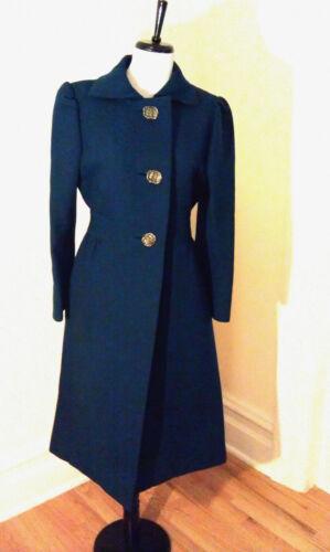 1950s Pauline Trigere Long Wool Coat S/M