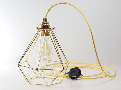 Premium Gold Vintage Industrial Diamond Pendant Wire Cage Desk Side Lamp Light