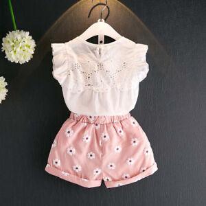 5e1d4ded5 Cute Toddler Girls Kids Clothes Sleeveless T shirt Tops+Shorts Pants ...