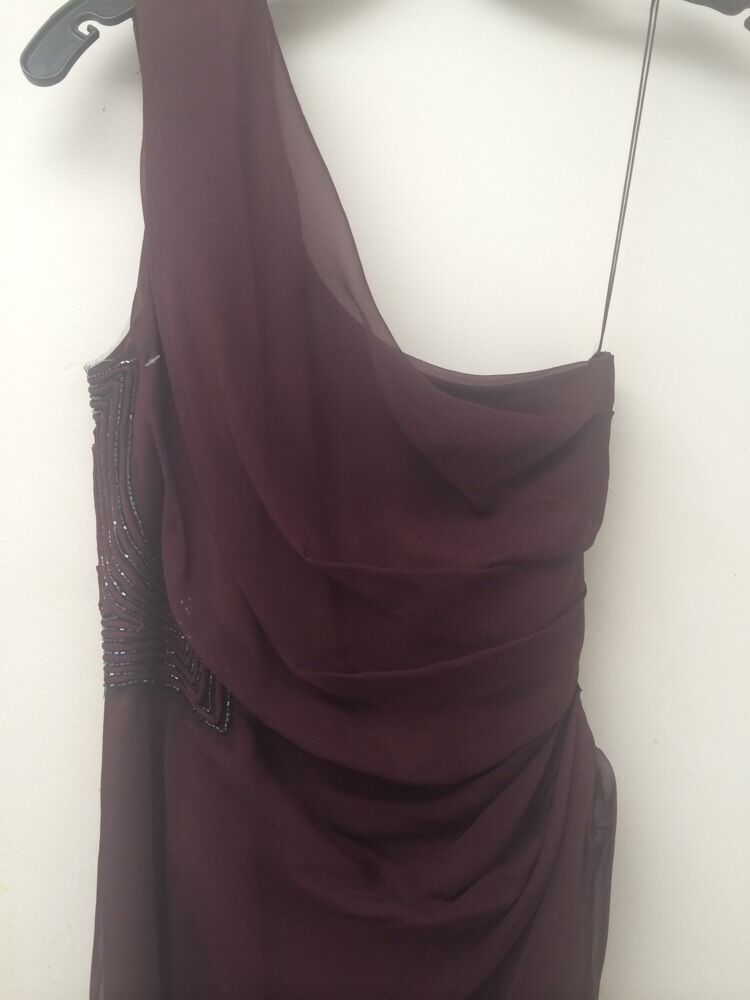 J. Mendel Dress NEW Purple Beading One Shoulder Production Duplicate Sz S