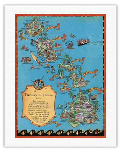 1931 Vintage Travel Poster Fine Art Print White Territory of Hawaii Map