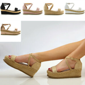 462afa09d Image is loading Womens-Platform-Cork-Espadrille-Wedge-Sandals-Ladies-Ankle-