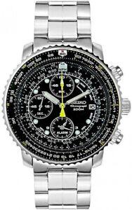 SEIKO-SNA411-Pilot-Chronograph-Watch-200m-Waterproof-Black-Fast-Ship-Japan-EMS
