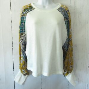 New-Umgee-Top-S-Small-Ivory-Floral-Patchwork-Mixed-Print-Puff-Sleeve-Boho-Scarf