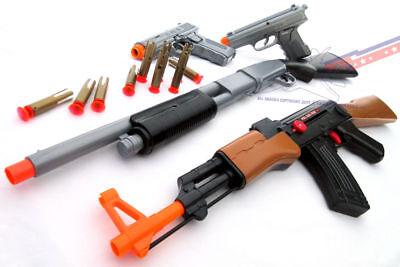 3x Toy Guns Military AK-47 Toy Rifle Blue /& Silver 9MM Toy Pistols