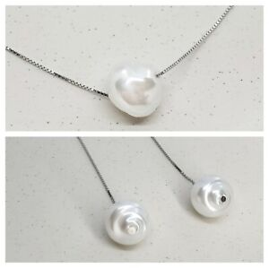 Genuine 925 Sterling Silver White Pearl Necklace Drop Earrings Set Gift For Her
