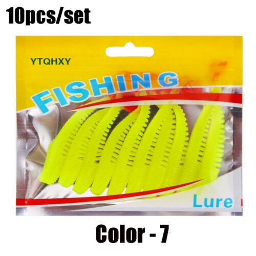 Quality 80mm 2.5g T Tail Carp Worm Fishing Lures Silicone Swimbait Soft Bait
