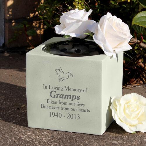 Personnalisé Colombe Memorial vase-GRAVE fleur porte-Cimetière Holder