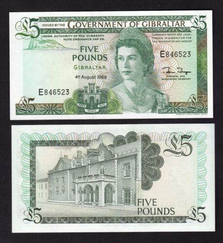 1988 Gibraltar 5 Pounds UNC P21b QEII Prefix #E