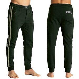 EVERLAST-pantalone-nero-da-uomo-con-bande-grigio-felpa-polsino-finale-tasche-zip