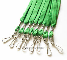 WHOLESALE 100 PCS GREEN ID NAME BADGE STRAP HOLDER NECK LANYARDS SWIVEL J HOOK