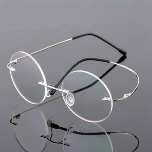 752e6fa84df Image is loading Round-Rimless-Eyeglass-Frames-Vintage-Optical-Glasses- Titanium-