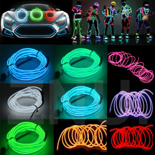 Battery Operated Luminescent Neon LED Lights Glow EL Wire String Strip Rope Dw