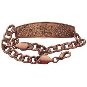 Solid-Copper-Bracelet-Butterfly-Monarch-Handmade-Jewelry-Adjustable-Chain-Link