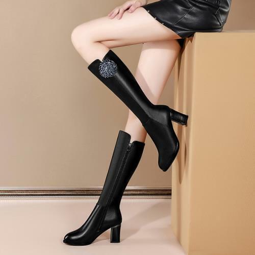 Fashion Women's Round Toe Block Heels Rhinestones Knee High Boots Shoes sz 601