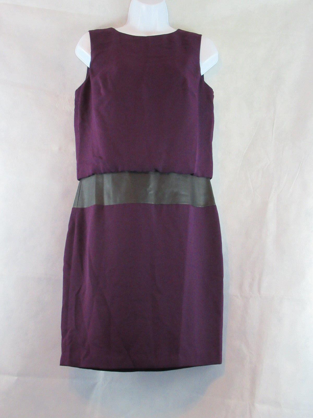 Lauren Ralph Lauren Faux-Leather Panel Sleeveless Dress, Purple, 6