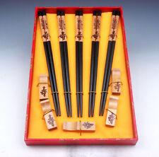 Gift Set 5 Pairs Long-Life SHOU Painted Wooden Chopsticks w/ 5 Longevity Holders
