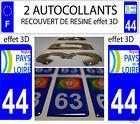 2 STICKERS RECOUVERT DE RESINE IMMATRICULATION DEPARTEMENT LOIRE ATLANTIQUE 44