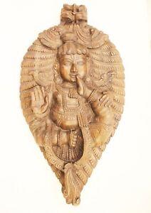 Vintage-Madera-Pared-Colgante-Senor-Krishna-Coleccionable-Hecho-Hogar-Decoracion