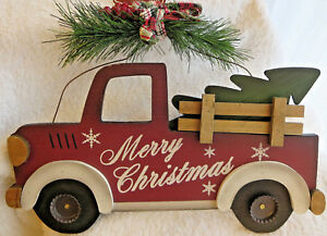 Vintage Red Truck Christmas Decor.Details About Vintage Red Truck W Tree Wood Merry Christmas Wall Hang Decor New Fast Ship