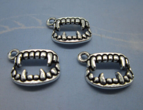Free shipping retro style Sharp teeth alloy charms pendants 12 x 17mm