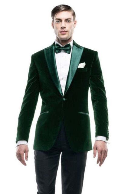 Men Olive Green Smoking Jacket Elegant Tuxedo Stylish Designer Party Wear  Blazer