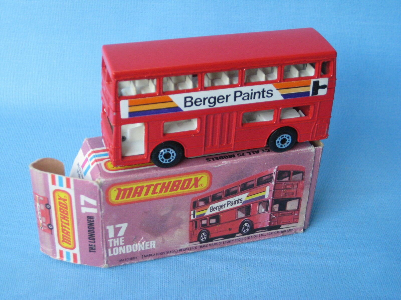 Matchbox SF-17 Londoner Bus Berger Paints Brown Base RARE Boxed