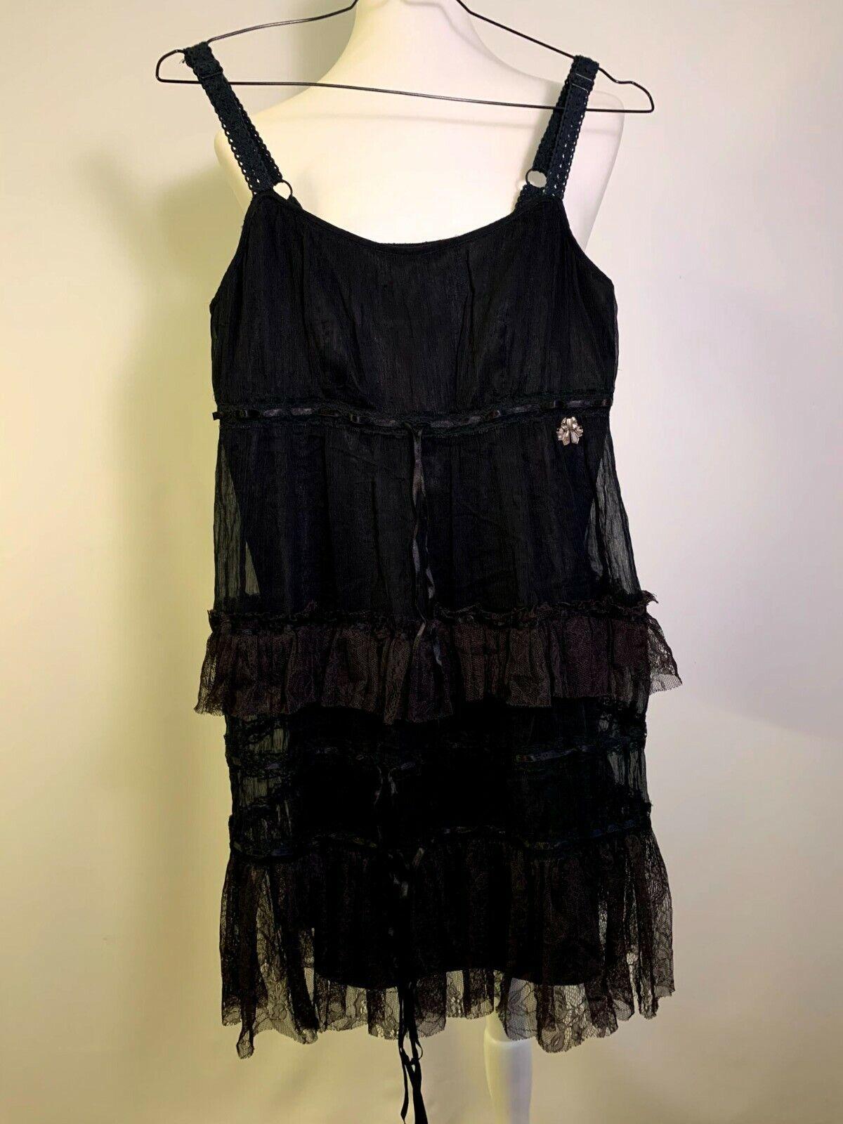 John Galliano Dress Womens Black Elegant Size M Size 38 Casual Summer