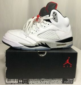 low priced 344a5 fd9d3 Image is loading Nike-Air-Jordan-Retro-5-V-White-Cement-