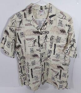 Go-Barefoot-Size-Large-Men-039-s-Hawaiian-Shirt-Tribal-Print-L-Islander-Surfing