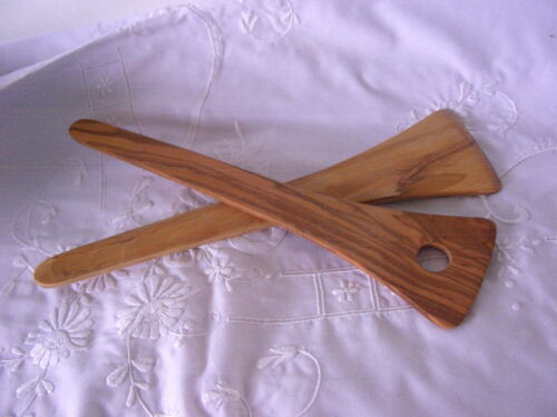 Gorgeous New Italian Olive Wood Salad Serving Set Spoon Utensils Wooden