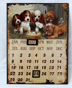 ewiger-Kalender-Metall-magnetisch-33x25cm-Hunde-Welpen-Vintage-Shabby