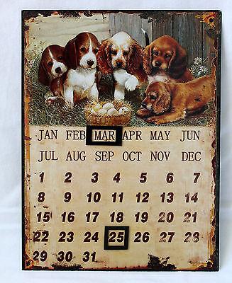 ewiger Kalender Metall magnetisch 33x25cm Hunde Welpen Vintage Shabby