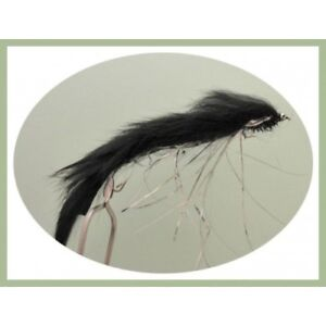 Snake-Trout-Flies-4-x-Black-Humongous-Snakes-Size-10-Trout-Pike-Rear-Hook