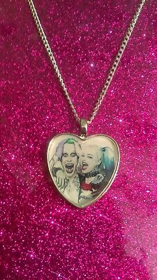 Silver Plated Heart Pendant Necklace DC The Joker Harley Quinn Suicide Squad