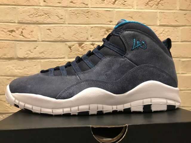 Nike Air Jordan 10 X Retro City Pack LA Los Angeles Lakers Blue Men's sz 12 kobe