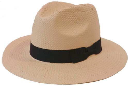 100 /%  Natural Paper Fedora Panama Style Trilby Genuine Bucket Hat Cap D /& Y