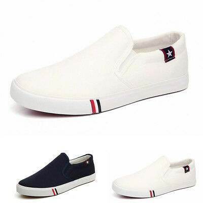 Cool Men No Shoelaces Loafers Leisure Slip on Canvas Shoes Casual Sneakers C HK