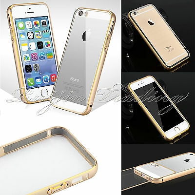 Ultra Slim Metal Aluminum Bumper Frame Clear Back Case Cover Skin For iPhone5/5S