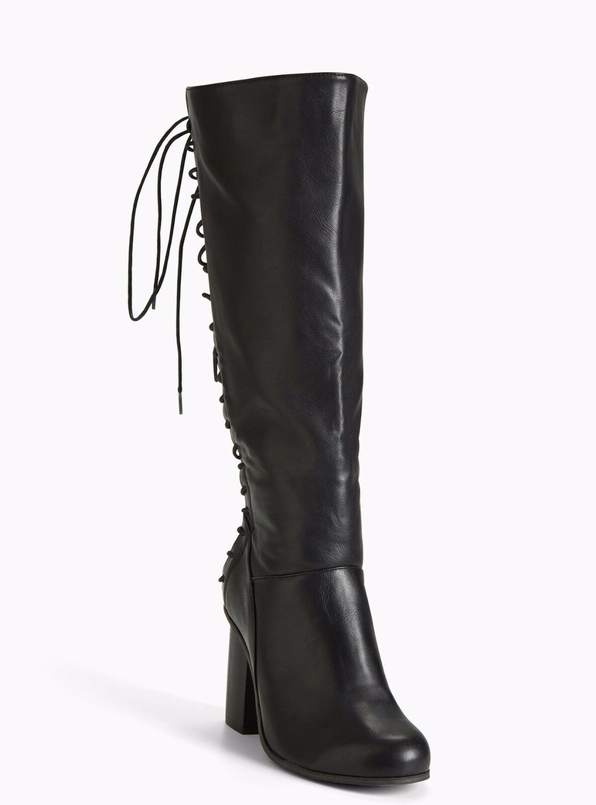 Torrid Lace Up Back Heel Boots Wide Width & Wide Calf Black 8  84942