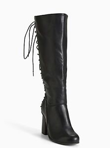 c1db672a9a9 Torrid Lace Up Back Heel Boots Wide Width   Wide Calf Black Sz  7 ...