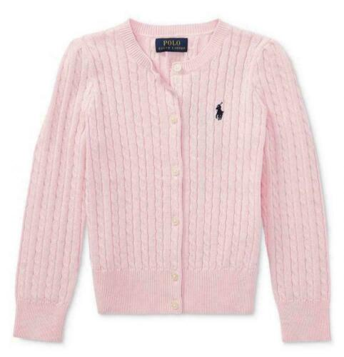 Polo Ralph Lauren Little Big Girls Cable-Knit Cardigan Sweater Pink Cream 2-16
