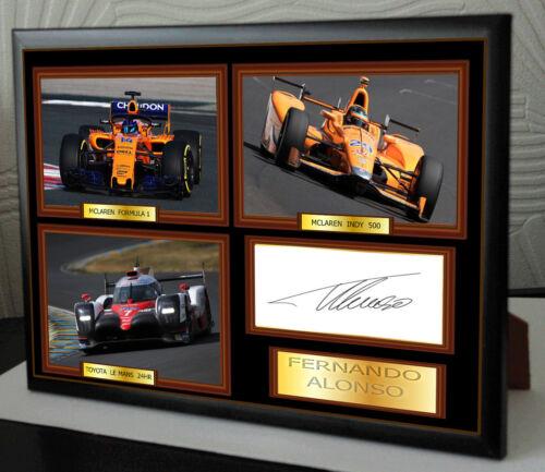 Fernando Alonso F1,INDY 500 /& LE MANS 24 Framed Canvas Signed Print